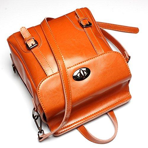 MUMUWU Womens Backpack Leather Bag Fashion Bag Bag Brown M Size
