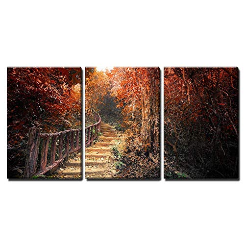 wall26 - 3 Piece Canvas Wall Art - Fantasy Forest in Autumn Surreal Colors. Road Path Way Through Dense Trees - Modern Home Decor Stretched and Framed Ready to Hang - 16