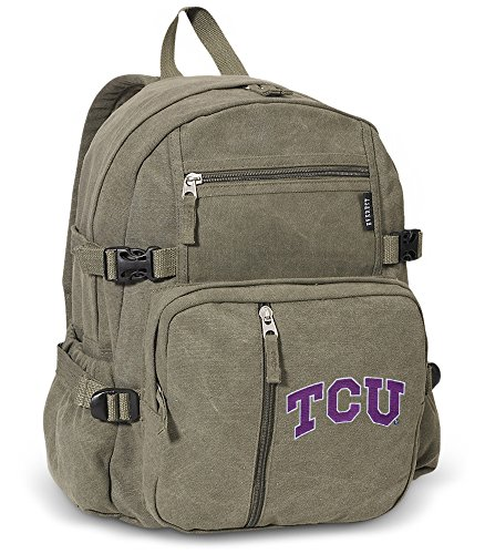 Texas Christian University Backpack DELUXE CANVAS TCU Backpacks by Broad Bay
