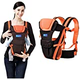 BabyGo Soft Adjustable 4-In-1 Baby Carrier With Comfortable Head Support And Buckle Straps (Black-Orange)
