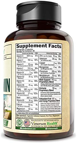 Men's Daily Multimineral Multivitamin Supplement. Vitamins A C E D B1 B2 B3 B5 B6 B12. Magnesium, Biotin, Spirulina…