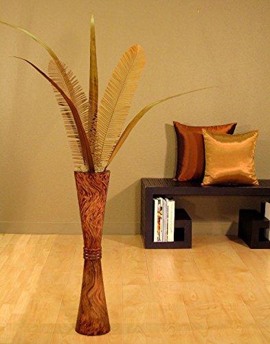 Shopping The Globe Tall Mango Wood Trumpet Floor Vase, 27 inch - Oak (Tall Floor Vases For Sale)