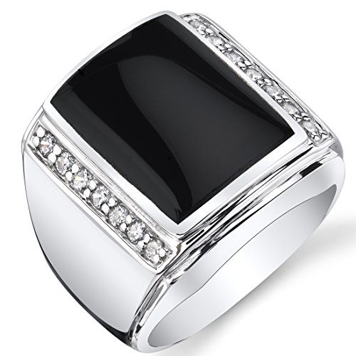 (Peora Mens Black Onyx Aston 925 Sterling Silver CZ Ring Size 9)
