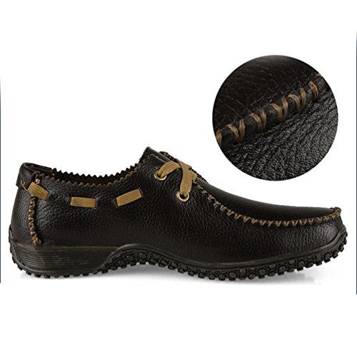 Durable Plat Souple PU Antidérapant Mode Marron Feidaeu Usure à Confortable Lacet Travail Chaussure Conduite Derby Inodore Grain Cuir Litchi Homme 6pvRzpnwqx