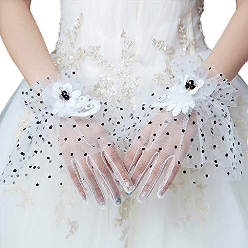 (Cher9 Bridal Wedding Mesh Gloves Black Polka Dot Faux Pearl Rhinestone Flower Ruffles Full Finger Short Mittens)