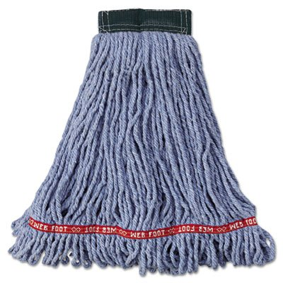 Rubbermaid Commercial A25206 BL00 RCPA252BLU Web Foot Wet Mop Head, Shrink Less, Cotton/Synthetic, Medium, Blue (Pack of 6) by Rubbermaid Commercial