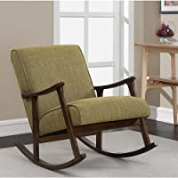 Modern Mid Century Green Wooden Rocking Retro Chair