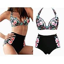 Vandot Women's Fashion Sexy Swimwear Triangl Bikini Swimsuit Set Elegant Ladies Girls Split Halter Push up Beach Bathing Suit