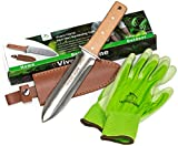 Vivero Home Exclusive Set - Multi-Purpose Japanese Hori Hori Garden Knife + Bamboo Gloves + Leather Sheath. Stainless Steel Blade + Handguard. Garden Tool for Gardening, Landscaping, Digging, Weeding
