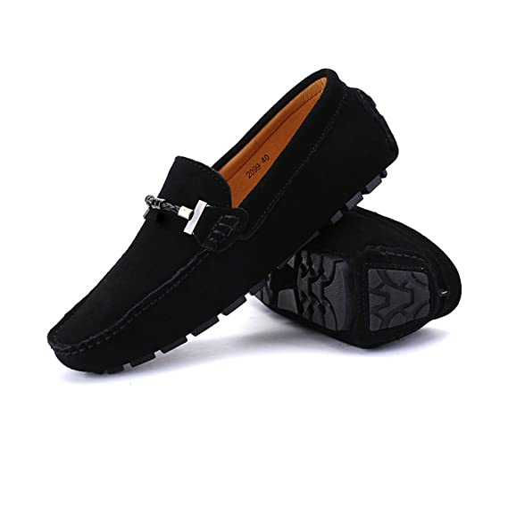 Amazon.com: MUMUWU Mens Driving Loafers Handwork Suture Suede Genuine Leather Penny Boat Moccasins Up to Size 47 EU Dress Shoes: Clothing