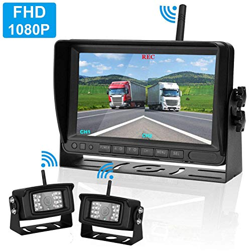 LeeKooLuu 2019 FHD 1080P Digital Wireless Backup Camera Kit RV Observation System 7'' DVR Monitor Split/Quard Screen for Trailers,Trucks,Motorhomes,5th Wheel IP69K Waterproof Super Night Vision (The Best Dash Camera 2019)