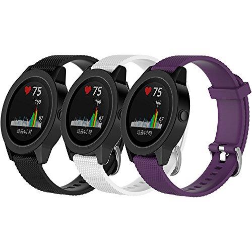 QGHXO Band for Garmin VivoActive 3, Soft Silicone Replacement Watch Band for Garmin VivoActive 3 / Garmin Vivoactive 3 Music/Garmin Forerunner 645 Music (A-Black&White&Purple, Large)