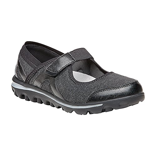 Propét Mujeres Onalee Mary Jane Flat Gris, Negro