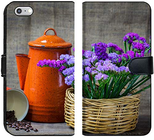 Luxlady iPhone 6 and iPhone 6S Flip Fabric Wallet Case Image ID: 24077437 Red teapot Place on Wooden Table with Purple Flower in Wooden Basket