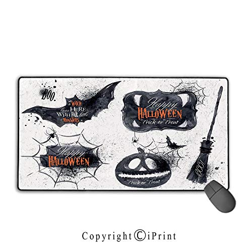 Extended Mousepad with Durable Stitched Edges,Vintage Halloween,Halloween Symbols Happy Holiday Witch Lives Here Broomstick Spider Web Decorative,Black White, Suitable for offices and homes,15.8