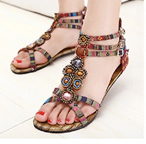 Casual Sandals CRC Roman Flats Canvas Back Wine style Red Comfortable Beaded zipper Womens YYZfv