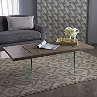 Werner Modern Dark Sonoma Faux Wood Overlay Coffee Table with Tempered Glass Legs