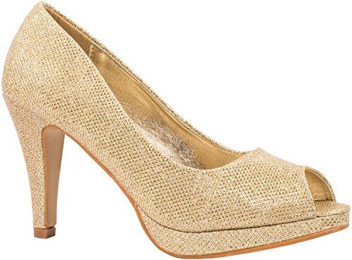 Elara Damen Pumps | Plateau High Heels Glitzer | Hochzeit Stiletto| chunkyrayan  Gold Peep-