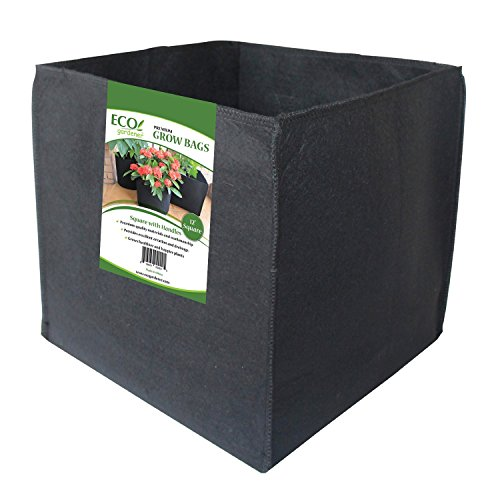 ECOgardener Grow Bags Square Foot Planter Raised Bed Fabric Pot with Handles  12quot Square 4Pk