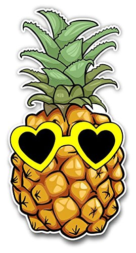 Pineapple Sticker With Heart Sunglasses for Laptop Computer