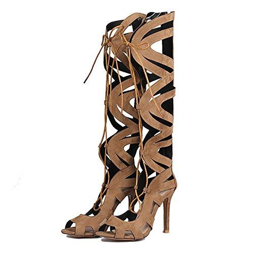 Brown Talons Sandales Suede Party Mode Dames Bottes Femmes Gommage Hauts Sangles Chaussures Croix Cy Été Pour Nightclub awXqvdq