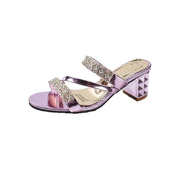 Frauen Mode Strass Mid Crude Heel Slide Sandale Outdoor Open Toe Slip auf Lazy Shoes
