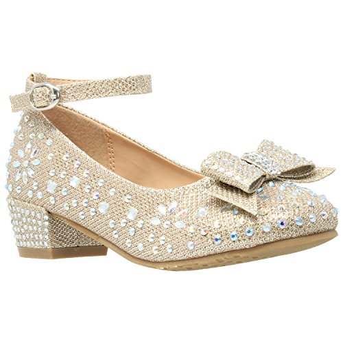 SOBEYO Kids Dress Shoes Girls Glitter Rhinestone Bow Accent Mary Jane Pumps Gold SZ 1 Youth (Rhinestone Girl Party)