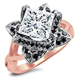 Smjewels 2.0 Ct Princess Cut Lotus Flower Sim.Diamond Engagement Ring In 14K Rose Gold Plated