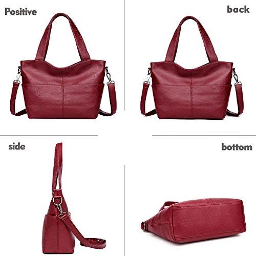 morbida a tracolla a nuova 2018 grande borsa tracolla moda borse Rosso a borsa tracolla Borsa PU Tisdaini Xqw7vOX
