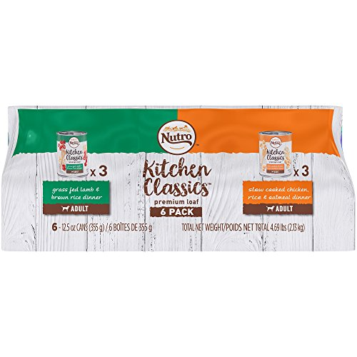 Oatmeal Dinner (Nutro Kitchen Classics Premium Loaf Variety Pack: Grass Fed Lamb & Brown Rice Dinner And Slow Cooked Chicken, Rice & Oatmeal Dinner Canned Dog Food 12.5 Ounces (Pack Of 6))