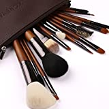 ZOREYA(TM) Makeup Brushes 15pc High End Real Walnut Handle Makeup Brush Set- Free Dark Brown Leather Brush Case Holder with Contour Foundation Brush Set