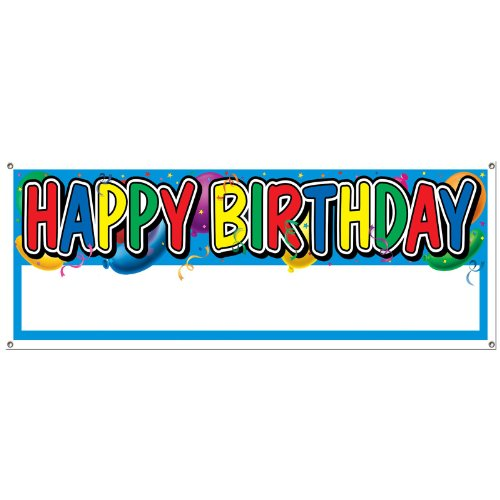 Beistle 50187 Happy Birthday Sign Banner, 5-Feet by 21-Inch -