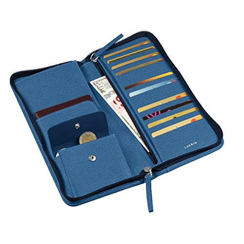 travel Royal Blue Royal wallet Granulated Zipped Leather Lucrin blue tq1In5W
