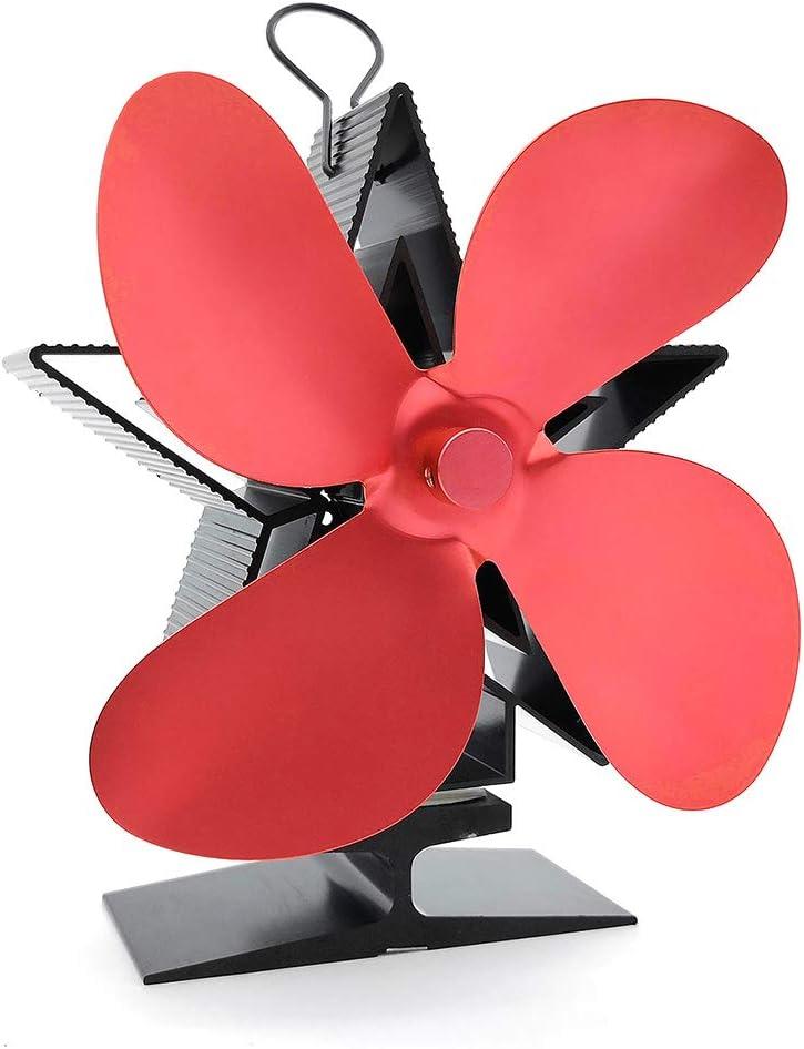 Housesweet Pentagram ventilador de estufa de 4 hojas alimentado por calor, ventilador de horno de leña que quema madera y ventilador ecológico silencioso para chimenea, rojo