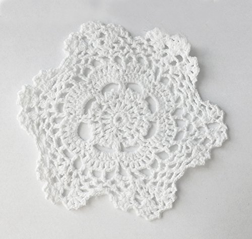 (Fennco Styles Handmade Crochet Lace Cotton Doilies - 6-inch Round (12-pack, White))