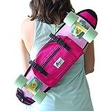 """Shoulder bag for 22"""" plastic skateboard, backpack, bum bag pink"""