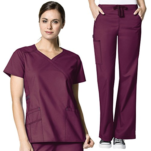 WonderWink Flex Charity Women's Scrubs Y-Neck Mock Wrap Top & Flare Leg Cargo Pant (Mock Neck Set)