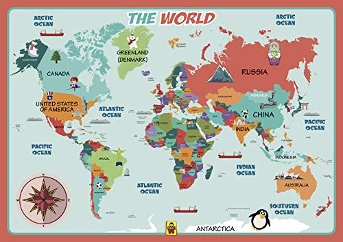 UNCLEWU World Map Learning Placemats - Educational Kids Placemats
