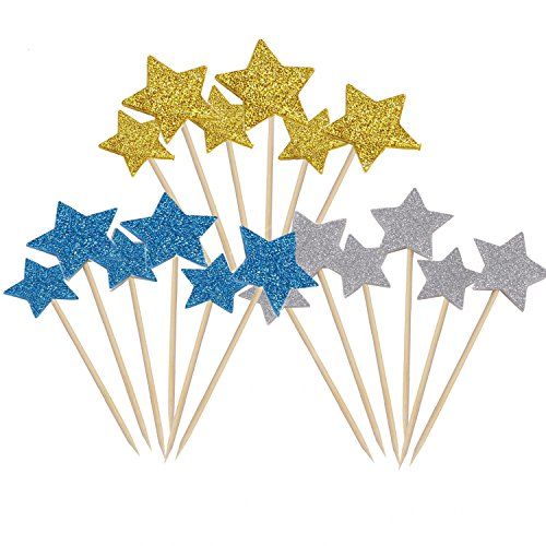 HUELE 54 pcs Star Cupcake Topper Gold, Silver And Blue for Birthday Wedding Ceremony]()