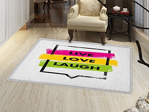 (smallbeefly Live Laugh Love Door Mat outside Colorful Grunge Spray Paint Style Quote in Rectangular Shape Speech Bubble Bathroom Mat for tub Non Slip Multicolor)