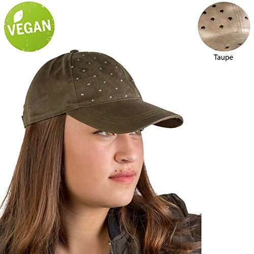 Leather Quilted Hat - AUGUST HAT COMPANY Women's Quilted Vegan Leather Lightweight Multi-Season Baseball Cap with Stud Embellishment