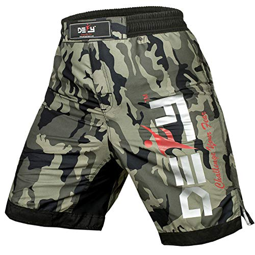 DEFY Premium MMA Fight Shorts Clothing UFC Cage Kickboxing Fighting Grappling Martial Arts Muay Thai Training Camouflage (Green Camo, Medium) ()