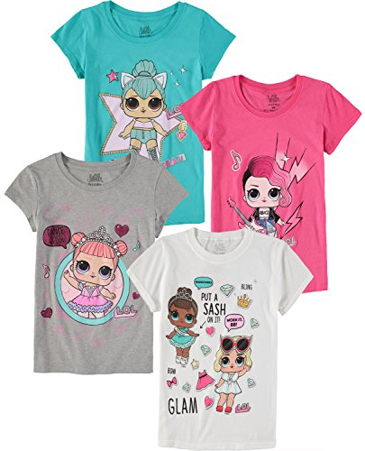 MGA Girls' LOL Surprise! Short-Sleeve T-Shirt 4-Pack (Pink/Grey/White/Teal, 6X)
