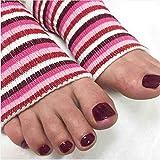 Original Pedi-Sox brand open-toe socks : Professional Grade : Classic Multi-Pink Stripe 1-Pair