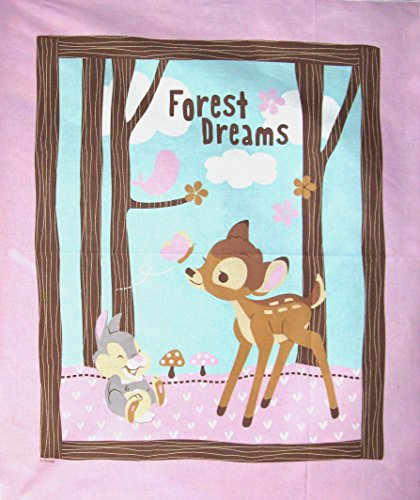 """43"""" Wide Disney Bambi Cotton Fabric By The Panel"""