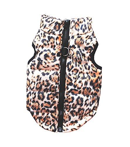 Vedem Pet Puffer Zipper Quilted Vest Coat for Dog Cat (XS, Leopard-Brown)