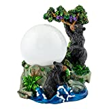 Playful Wild Black Bears 100mm Resin 3D Water Globe Plays Tune Born Free