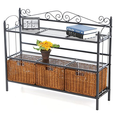 Baker's Rack Durable Metal Construction and Textured Gun Metal Grey Finish The Storage Shelf has a Scrolled Design on the Top and Both Sides for a Touch of Sophistication and Style
