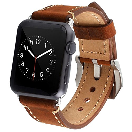 Apple Watch Band, iWatch Leather Wrist Band, Premium Vintage Crazy Horse Leather Watches Band with Secure Metal Clasp Classic Buckle Strap Replacement…