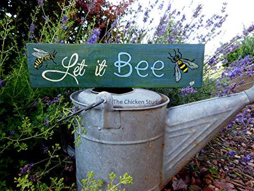 (Let it BEE Bee Sign Garden Decor Pallet Art Beekeeper Bees Apiarist Gift Bee Decor Outdoor Sign Gardener Gift)